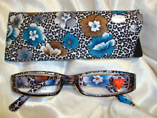 Reading Glasses-Flower Garden Blue, Brown 1.50