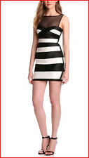 BCBG MARA BLACK COMBO COLOR BLOCK PARTY DRESS size 0 petites NWT $338-RackE/80