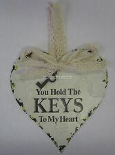 French Provincial Hanging Metal Heart Decoration You Hold The Keys To My Heart