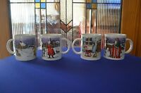 4 Lg Christmas Mugs With St. Nicholas, Santa Different Places. With Box