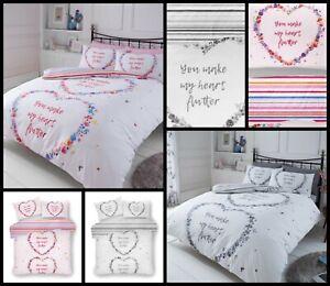 4 PCS FLUTTER HART Complete Bedding  Duvet Cover + 2 Pillowcase + 1 Fitted Sheet