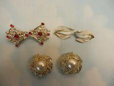 Vtg  Sarah Cov Rhinestone Enamel Coro FX Pearl Magi Clip Earrings lot 3