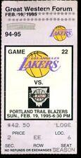 Ticket Basketball Los Angeles Lakers 1995 2/19 Portland Trail Blazers
