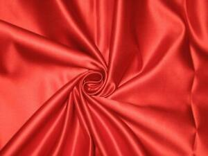 "RED LIQUID SATIN POLYESTER LINING FABRIC BRIDAL WEDDING PROM 60"" WIDTH"