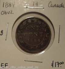B Canada Victoria 1884 Obv 2 Large Cent - EF