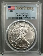 2019 $1 American Silver Eagle PCGS MS70 First Strike ~ Blue Flag Label