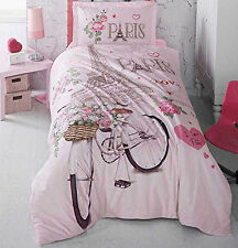 100%Cotton,Paris Bedding Eiffel Tower Quilt/Duvet Cover Set,Single/Twin,Pink,3pc