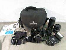 Minolta X-700 35mm Film Camera w/ 4 Lenses, Flash and Bag