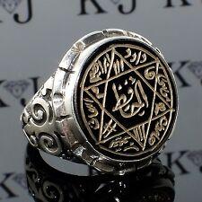 925 Sterling Silver Islamic Talisman Ring Seal of Solomon Black Onyx handmade