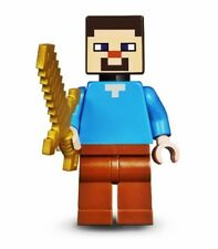 Lego Minecraft Steve w/ Pearl Gold Sword & Pick Axe from set 21135 NEW