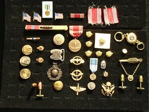 Military Lot, Cufflinks, Tie Clasps, Pins, Insignias, Army Air Corps, Sterling