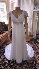 Long Chiffon A Line Sweetheart Beach Wedding Dresses Size 10 White/silver