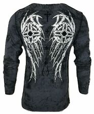 Xtreme Couture by AFFLICTION Men THERMAL T-Shirt DARKER SIDE Biker MMA Gray
