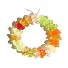 Czech Flower Beads Glass Red Yellow Pink Orange Green Tropical Mix