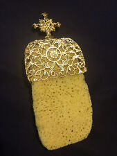 Natural Greek Sponge with Brass Holder Christian Orthodox Church Divine Liturgy