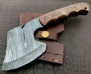 Handmade Axe-Damascus Steel Viking Axe-Camping-Outdoors-Leather Sheath-DH109