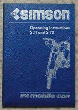 SIMSON S51 & S70 MOTORCYCLES Operating Instructions Handbook 1987 #SG 157/5/1987