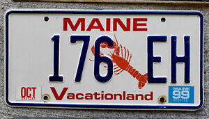 Maine Lobster License Plate with a 1999 Sticker