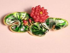 MFA Museum of Fine Arts Water Lily Flower Enamel Green Pink/Coral Brooch Pin