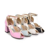 New Women's Block High Heels Peep Toe Pumps PU Leather Ankle Buckle Party Shoes