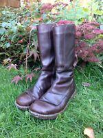 EL NATURALISTA Women's Mid Calf Leather Boots - Size 41 (UK 7.5) - Brown - Zip