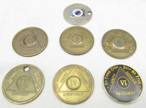 Lot of 7 Alcoholics Anonymous Coins Tokens -D