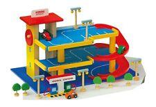 Garage parcheggio macchine con accessori in legno, giocattolo per bambini