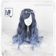 Periwig Harajuku Woman Lolita Daily Blue Gradient Wigs Cosplay Long Curly