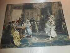"VINTAGE ""THE ANTIQUE DANCE"" UNFRAMED COLOR LITHOGRAPH 12"" X 9"" - LOVELY ART!"
