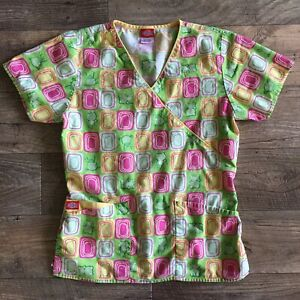 Dickies Scrubs womens XS Top- Yellow Green Pink Medical Nurse Scrub- Extra Small