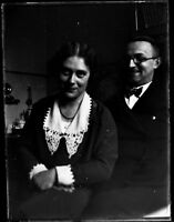 German Post WWI 3 1/2 x 4 3/4 Inch Glass Plate Negative of a Happy Couple V94