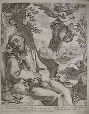 CARRACCI `ST. FRANCIS CONSOLED BY THE MUSICAL ANGEL´ KOPIE, B. 67, ROM ~1710