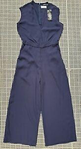💜 BNWT BOOHOO Sleeveless Wide-Leg Jumpsuit Navy Size 8 Buy7=FreePost L817