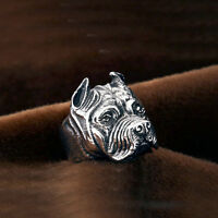 Pitbull Pit Bull Dog Pet Animal Stainless Steel Men Biker Rocker Punk Ring Band