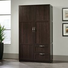 'Sauder 420055 Storage Cabinet - 40 X 19 Deep Sgs Dark Wood Finish NEW' from the web at 'https://i.ebayimg.com/thumbs/images/g/I2kAAOSwcUBYPEQ2/s-l225.jpg'