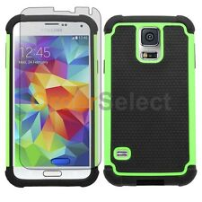 NEW Hybrid Rubber Case+LCD HD Screen Protector for Phone Samsung Galaxy S5 Green