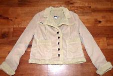 ** FRANKIE B ** Vegan Fur Lined Corduroy Jacket Like Wearing a Teddy Bear! L / 8