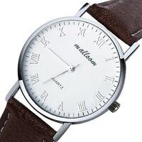 Klassisch Lässig Herrenuhr Armbanduhr Römische Ziffern Leder Analog Quarz Uhr