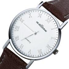 Men's Klassisch Lässig Armbanduhr Watch Römische Ziffern Leder Analog Quarz Uhr