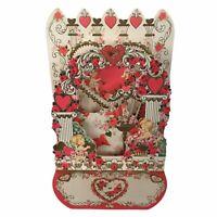 Vintage Stand Up 3-D Die Cut Valentine Card Little Girl Angels Birds Roses