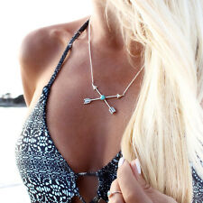 Boho Vintage Arrow of Love Cross Lucky Arrows Pendant Chain Necklace