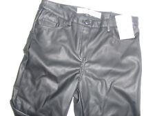 PRIMARK SIZE 4 6 8 10 12 14 16 18 20 BLACK FAUX LEATHER LOOK PVC SKINNY TROUSERS