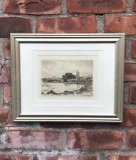 Original Edward Moran Pencil Signed Etching. Fishing Pond