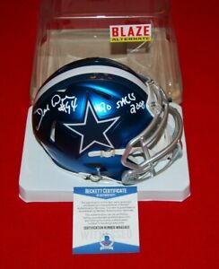 DEMARCUS WARE Dallas Cowboys signed BLAZE mini helmet Beckett 20 SACKS 2008 1