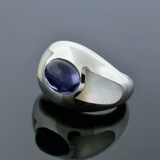 Mauboussin 18K White Gold Iolite Mother of Pearl Inlay Aloha Band Ring Size 6