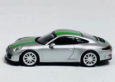 Minichamps 1/87 HO Porsche 991 911 R Silver/Green 2016 PLASTIC 870 066225