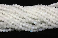 Natural White Rainbow Moonstone Loose Gemstone Beads Strands Strings 13 Inch