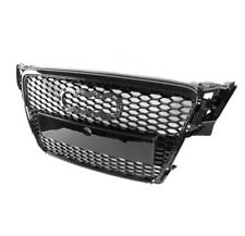 GLOSSY BLACK FRONT HOOD BUMPER SPORTBACK MESH GRILLE FOR 2009-2012 AUDI A4 S4 B8