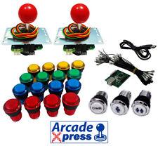 Kit Arcade Sanwa joysticks rojos 16 botones iluminados LED + Usb encoder Bartop