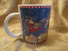 Mary Engelbreit Merry Christmas To All Mug Santa Claus Sleigh Reindeer Euc